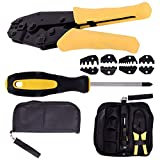 Toolsempire Crimper Crimp Pliers Set 0.5-35mm 2 Ratchet 4 Spare Dies Crimping Tool Kit with Storage Bag
