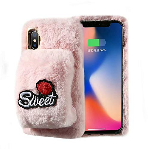 Soft Plush Case for iPhone XR,Gostyle iPhone XR Furry Case Winter Warm Faux Fur Wristband Grip Holder Case,Handmade Hairy Fluffy Shockproof Bumper Back Cover-Pink Flower Sweet