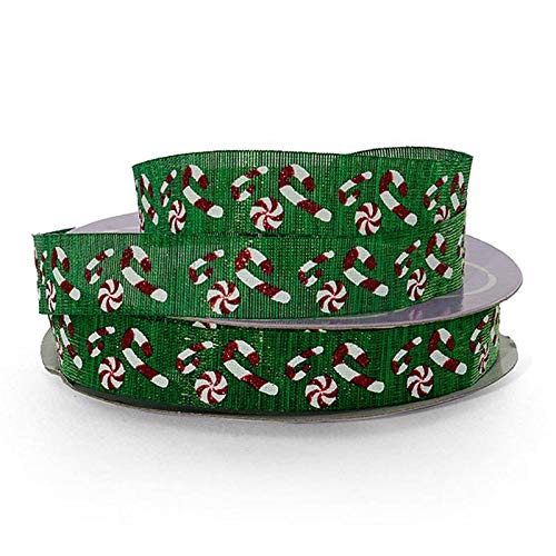 Peppermint Candy Patterned Ribbon Decoration - 5/8