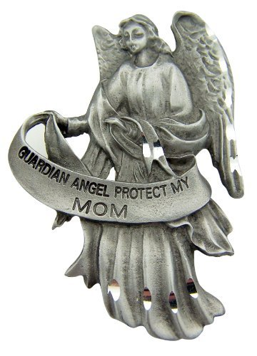 Polished Angel Charm - Pewter Guardian Angel Visor Clip, 2 1/2 Inch - Protect My Mom