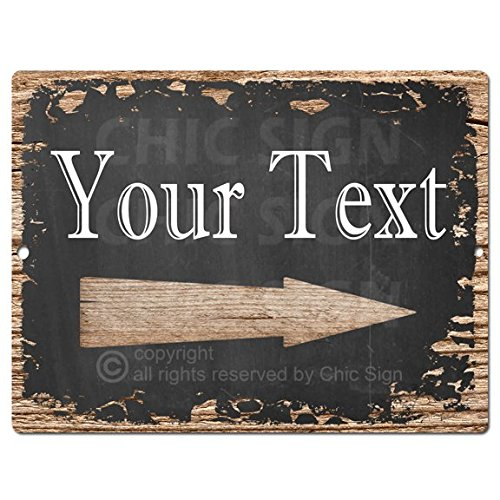 Your Text Right Arrow Custom Personalized Tin Chic Sign Rustic Vintage style Retro Kitchen Bar Pub Coffee Shop Decor 9