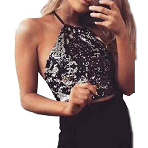 Wintialy Womens Backless Tops Sequins Strapless Vest Ladies - Plum Black Zebra Snap