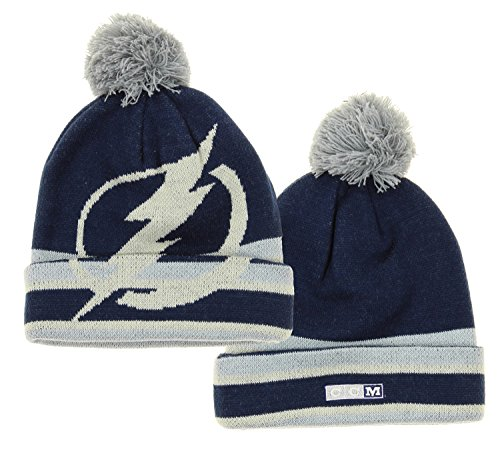- Reebok NHL Big Boys Youth (8-20) Deke Cuffed Knit Winter Hat with Pom, Tampa Bay Lightning