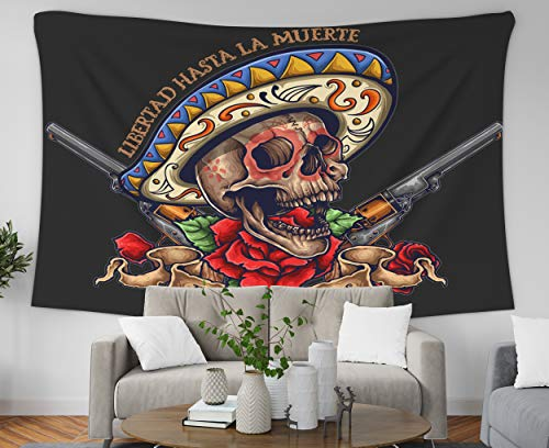 Pamime Home Decor Tapestry for Halloween Day The Dead Skull Banner Roses Revolver Wall Tapestry Hanging Tapestries for Dorm Room Bedroom Living Room (50x60 Inches(130x150cm) Tapestry)]()