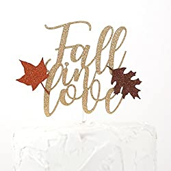 NANASUKO Cake Topper - Fall in love - Premium quality Made in USA - gold glitter with fall colors leaves