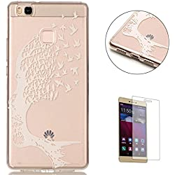 HUAWEI P9 Lite Silicone Gel Case [Free Screen Protector],KaseHom Crystal Clear Ultra Slim Soft Rubber Skin Flexible Bumper Shell Transparent TPU Protective Case Cover,White Tree and Birds