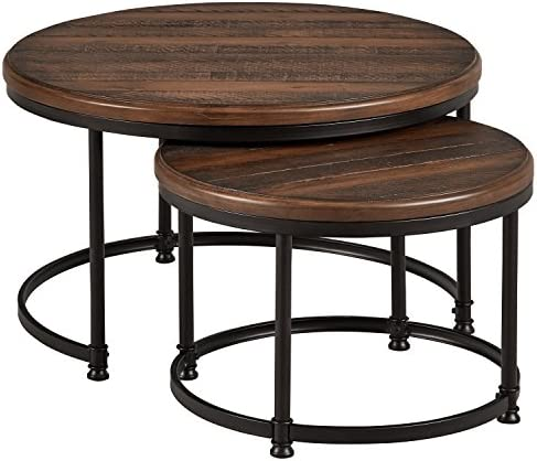 Amazon Brand Stone Beam Wood and Metal Round Nesting Side End Tables, 34 W, Set of 2, Pine