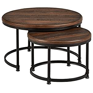stone beam wood and metal nesting tables 34 w pine kitchen dining. Black Bedroom Furniture Sets. Home Design Ideas