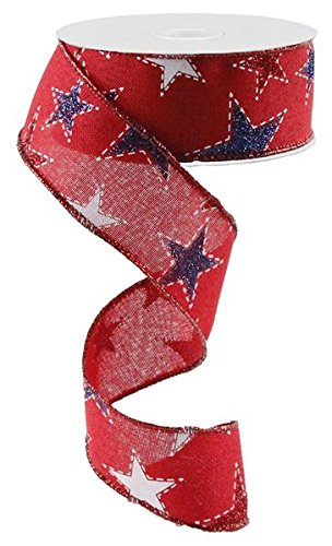 Dashed Glitter Stars Wired Edge Ribbon - 10 Yards (Red, 1.5