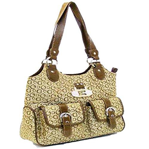 Designer G Brown Canvas Ivy Satchel Bag Rhinestone Pocket Handbag Purse (Handbag Canvas Inspired Designer)