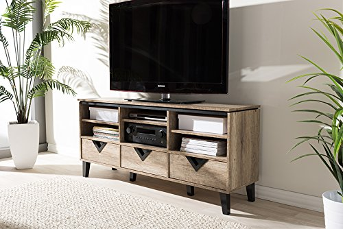 """Baxton Studio Wales Modern and Contemporary Tv Stand Light Brown/55/Contemporary - Shelves Upper 4.98"""" High x 17.67"""" Wide x 14.33"""" Deep; Material Particle Board with PU Paper,Plastic; Assembly Required Yes; Item Weight 95.92; Item Height 25.16; Item Width 15.52; Item Length 54.99 Shelves Lower 4.82"""" High x 17.67"""" Wide x 14.33"""" Deep Drawers 3.74"""" High x 15.47"""" Wide x 13.19"""" Deep - tv-stands, living-room-furniture, living-room - 51vXKt%2BT%2BQL -"""