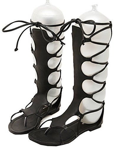 Toe UNIOPLIIL Sandals Knee PU Flip Brown Open Flops Women Flat Black Summer High Black Sandals Leather Sandals Gladiator 4w4Azqr