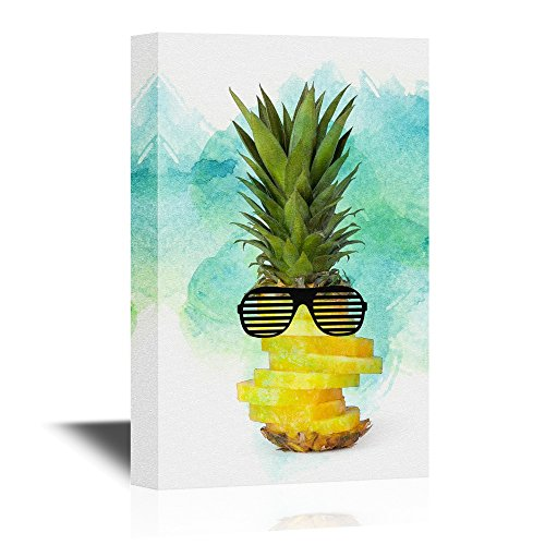 wall26 - Canvas Wall Art - Cool Pine Apple Wearing Sunglasses - Giclee Print Gallery Wrap Modern Home Decor | Ready to Hang - 24x36 inches (Man Wearing Glasses)