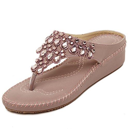 de Gradiente 2017 chanclas zapatos diamante moda femenino plano verano de estudiante fresco fondo de con zapatillas playa bohemias 37 marea 7xqrg7Y