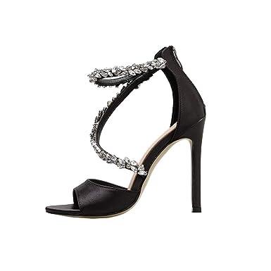 1368d4c81a523 Amazon.com: Womens Summer Transparent Rhinestone Shoes Ladies 2019 ...
