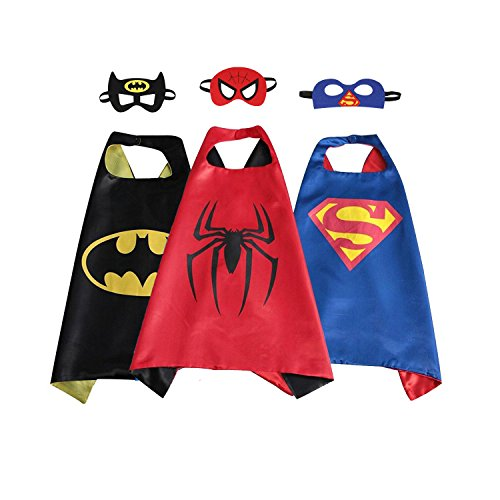 Kids Children Superhero Cape & Mask Costume Sets for Halloween Dress Up Birthday (9 Yr Old Boy Halloween Costumes)
