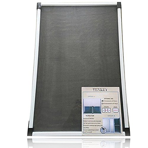 TENKEY Adjustable White Mosquito Window Screen 19.86' High x (30 ~ 52.8')