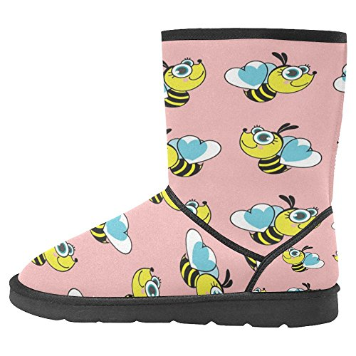 InterestPrint Womens Snow Boots Unique Designed Comfort Winter Boots Bees on Pink Ground Multi 1