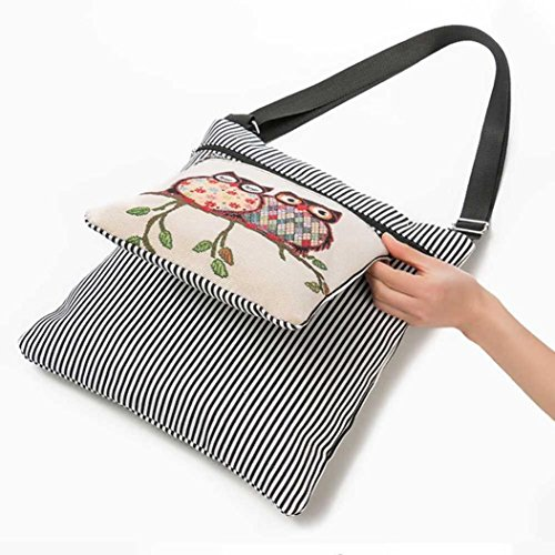 Printed with Paymenow Shoulder Casual Women Handbag Owl Strap Adjustable Daily Black Tote Single Small qZFZ4x5