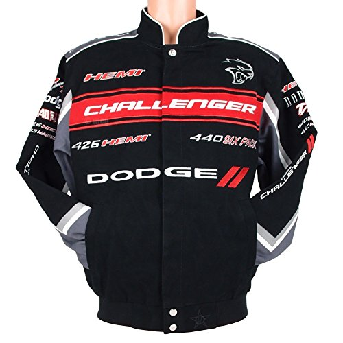 2017 Dodge Challenger Collage Mens Black Twill Jacket by JH Design (Embroidered Challenger Jacket)
