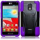 For LG Optimus F7 US780 T-Stand Impact Tuff Hybrid Black/Dark Purple Double Layer Fusion Kickstand Cover Case
