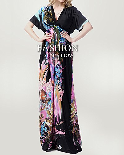 Vestido en para Bohemio V Imagen Cuello Impreso Grande Talla Como La Mujer qFWfTAgwY