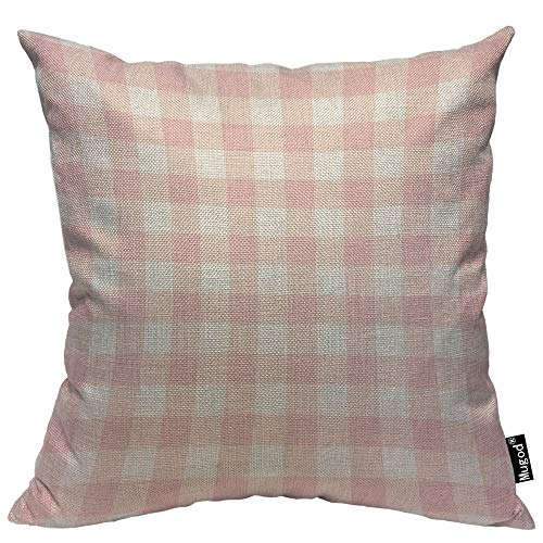 Mugod Buffalo Check Pillow Cover Plaid Gingham Checkered Pattern Pastel Pink and White Decorative Throw Pillow Cases Cotton Linen Indoor Square Cushion Covers 18x18 Inch for Home Sofa Couch