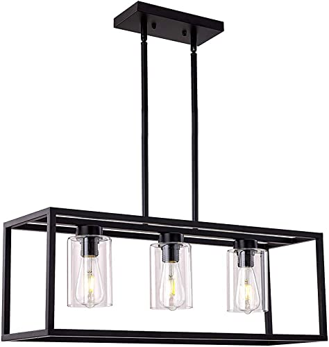 XILICON Dining Room Lighting Fixture Hanging Farmhouse Black 3 Light Modern Pendant Lighting Contemporary Chandelier