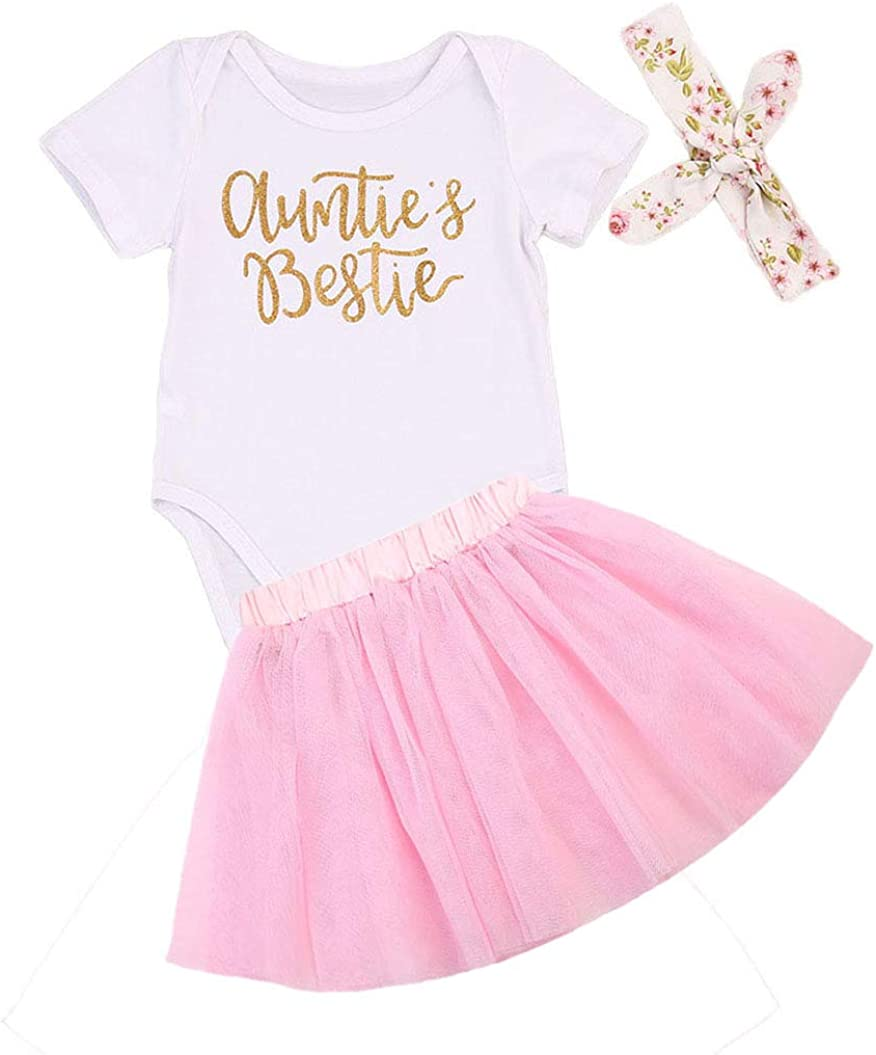 3PCS Newborn Baby Girls Clothes Romper Jumpsuit+Tutu Skirt+Headband Outfits Set