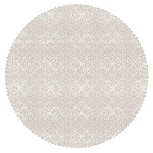 Upscale Round Tablecloth [ Damask,Vintage Flower Patterned Image Old School Victorian Themed Wedding Inspirations Decorative,Beige White ] Home Accessories Set