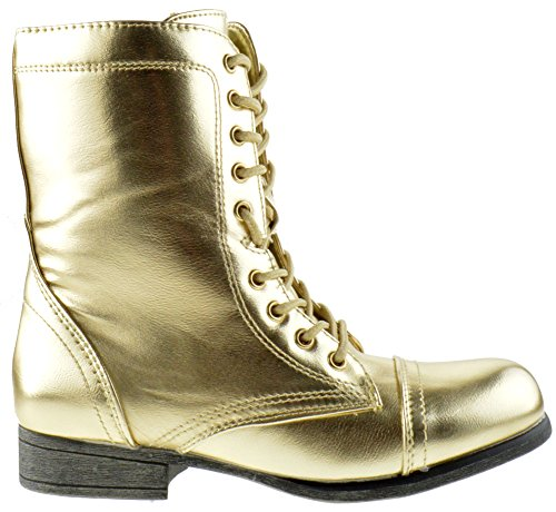 up Lace Combat Shine Gold Metallic Surprise 13 Womens Boots YxqnIXg