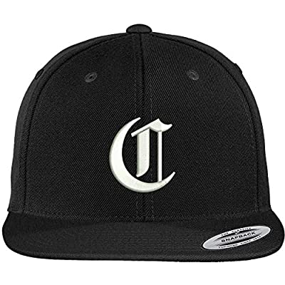 Trendy Apparel Shop Old English C Embroidered Flat Bill Snapback Cap