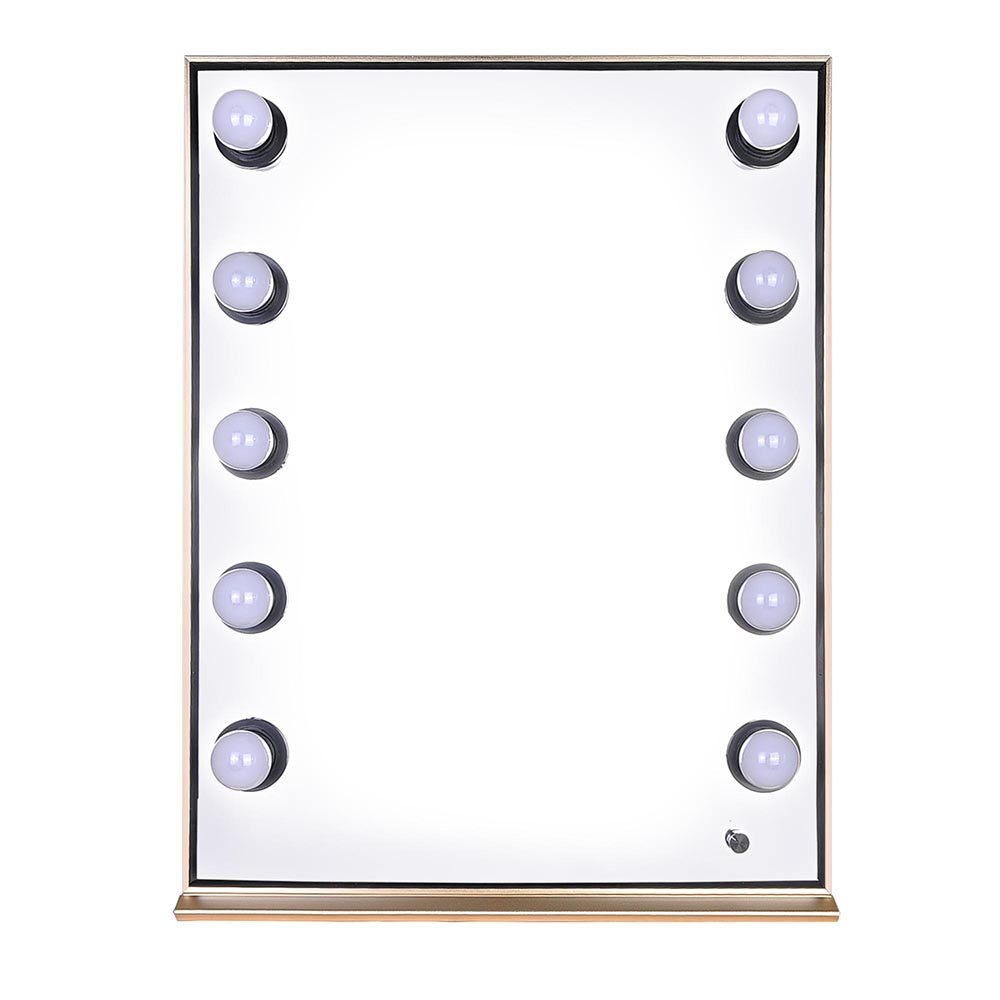 CHIMAERA Dressing Room Professional Vanity Makeup Mirror with Bright LED Lights (Gold)