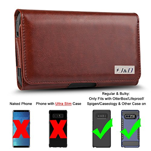 J&D Holster Compatible for Galaxy Note 8 / Galaxy Note 9 Holster with Belt Clip, PU Leather Holster Pouch and ID Wallet Case for Samsung Galaxy Note 8 Case (Only Fits with Regular & Bulky Case On)