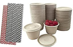 Outside the Box Papers 100% Biodegradable, 100% Compostable Bagasse/Wheat Fiber 4 oz Souffle Cups and Lids with Paper Straws - 50 Pack Black, Red,Natural