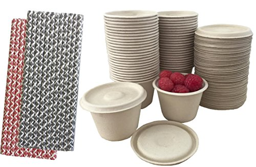 4 Ounce Souffle Cups and Lids - 100% Biodegradable and Compostable - Bagasse/Wheat Fiber - Paper Straws - 50 Each
