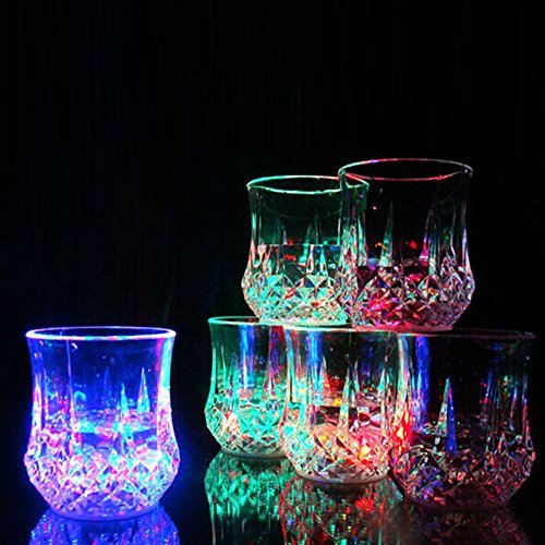 Vodka Glass - Flash Light Up Cups,[4 PCS] DiDaDi Automatic Water Activated LED Plastic Shot Glasses Blinking Beer Wine Whisky Vodka Martini Drinkware Glow Glasses Mugs for Bar Club Christmas Party Supplies