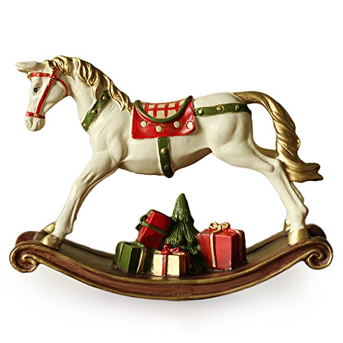 Ornerx Christmas Rocking Horse Figurine with Gifts 7 by 8inch