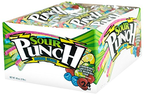 Sour Punch Straws, Rainbow Fruit Flavors, Chewy Sweet & Sour Candy, 2oz Tray (24 Pack)