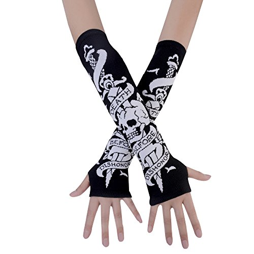 JISEN Women Punk Winter Knitted Stretchy Soft Arm Warmer Fingerless Gloves Skeletons Bones