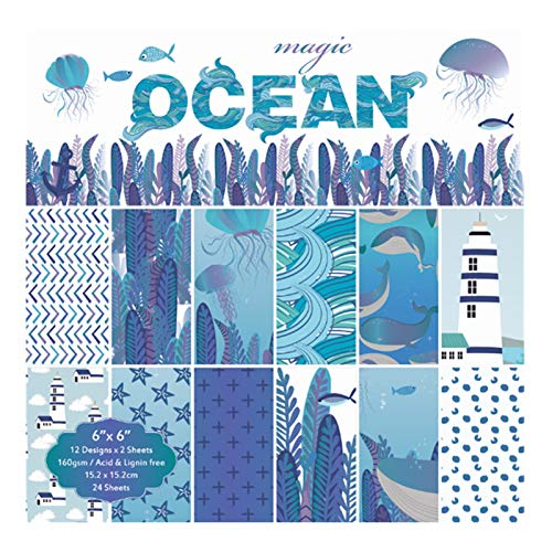 Best Quality - Craft Paper - Craft Decorative Paper Scrapbooking Pads Ocean Origami Art Background Paper 6inch 24 Sheets for Card Making DIY Scrapbook Paper - by Makakuki - 1 -