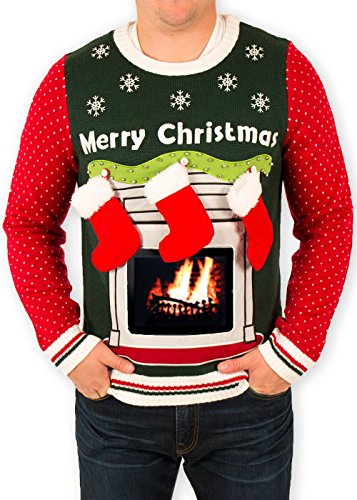 Men's iPad Tablet Fireplace Ugly Christmas Sweater in Green (Large) ()