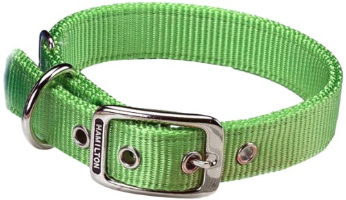 Hamilton Double Thick Nylon Deluxe Dog Collar, 1-Inch by 18-Inch, Lime Green