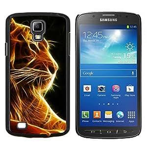 TECHCASE---Cubierta de la caja de protección para la piel dura ** Samsung Galaxy S4 Active i9295 ** --Tigre Negro Naranja Fuego Animal Felino