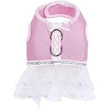 BUYITNOW Cute Pink Dog Dress Harness Pet Lace Mesh Vest Tutu Skirt with Bowknot for Small Dogs Girl