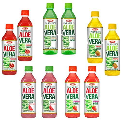 OKF Farmer's Aloe Vera Drink Flavored Variety Pack - Original, Pomegranate, Pineapple, Strawberry, Watermelon Flavored Aloe Drinks (16.9oz/500ml Bottles 10 Count) (Aloe Drinks With Vera Pulp)