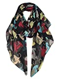 GERINLY Animal Print Scarves: Cute Elephant Pattern Wrap Scarf For Women (Cute Black)