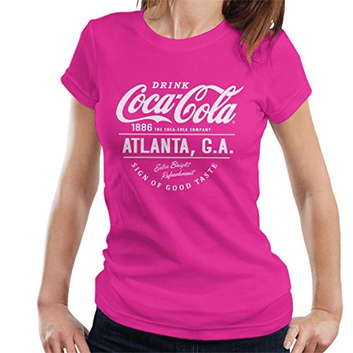 Atlanta Ga Hot T Text Women's Coca Cola shirt Pink White ZwqTxSB6