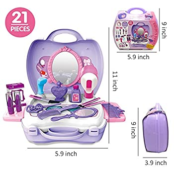 21pcs Pretend Makeup Kit For Girls Cosmetic Pretend Play Dress-up Beauty Salon Toy Set With Mirror Best Gift For Kids 1