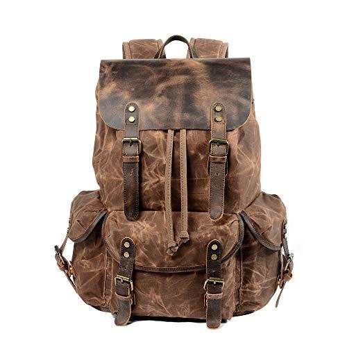 WUDON Travel Backpack for Men & Women| Genuine Leather-Waxed Canvas Shoulder Rucksack| Vintage Style W/Laptop Space & Multiple Pockets| Large Bag for Travel, School, University & More